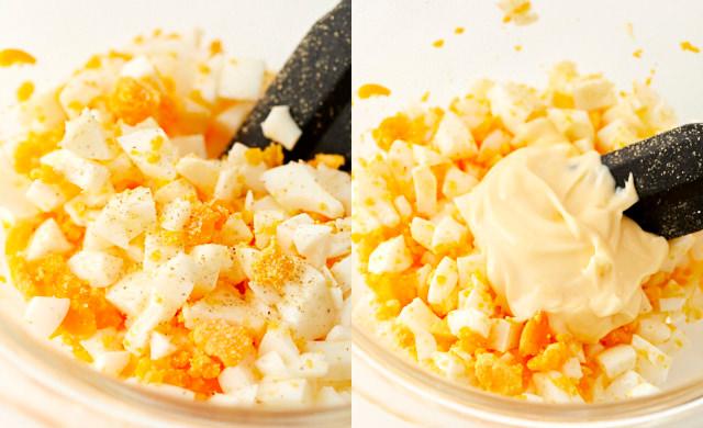 卵に塩・こしょう・マヨネーズで味付けしている写真