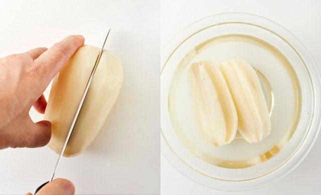 れんこんを縦に切り、酢水にさらす写真