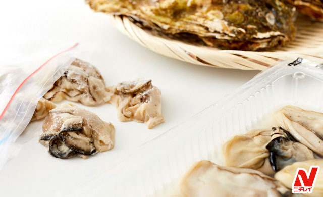 殻付き牡蠣とむき牡蠣と冷凍牡蠣の集合写真