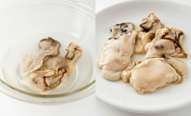 冷凍牡蠣を塩水解凍する写真