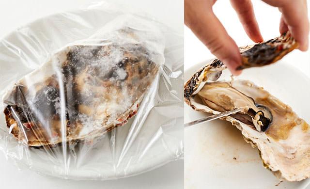 冷凍した殻付き牡蠣を電子レンジで解凍する写真/冷凍した殻付き牡蠣を電子レンジで解凍する写真