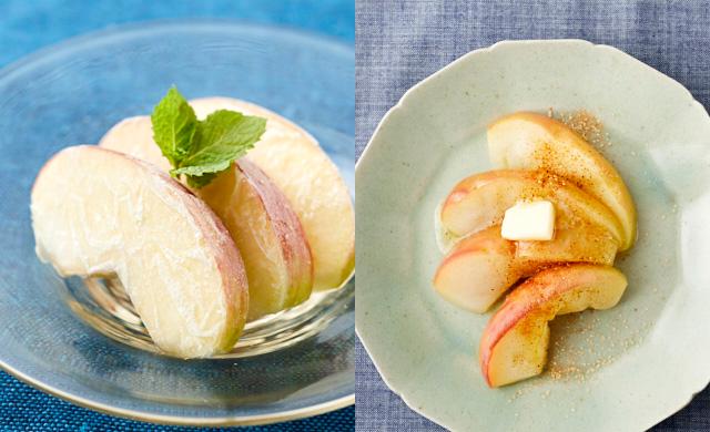冷凍りんごのシャーベットの写真(左)電子レンジで加熱し、焼きりんご風に調理した写真(右)