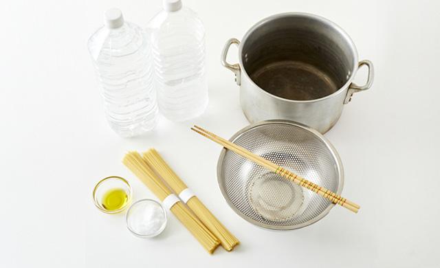 鍋でゆでる際に準備するものの写真