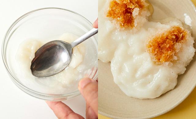 水を加えてレンチンする冷凍餅の写真(左)大根おろしをそえた餅の写真(右)