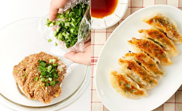 冷凍したニラのみじん切りを餃子の種に加えている写真とニラ餃子の写真