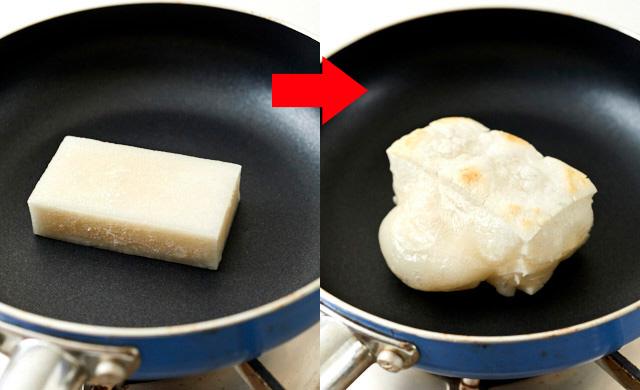フライパンで焼く冷凍餅の写真