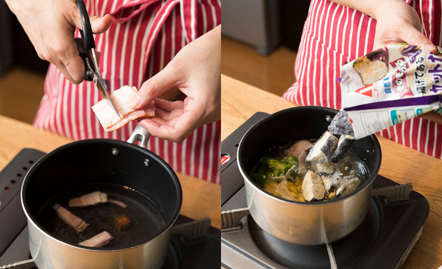 ベーコンを切っている写真(左)冷凍ブロッコリーを鍋に入れている写真(右)