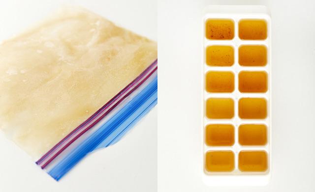 冷凍用保存袋に入れて冷凍した戻し汁と製氷皿に入れた戻し汁の写真