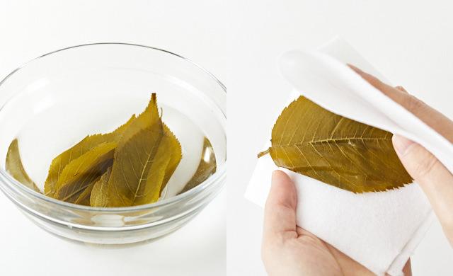 桜の葉の塩抜きをしている写真/桜の葉をペーパータオルで拭いている写真