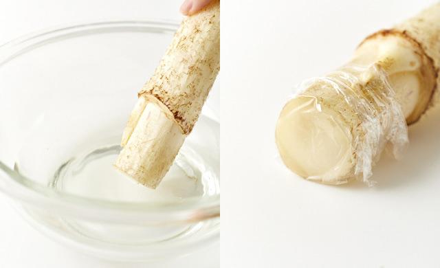 うどの切り口に酢水をつけている写真/ラップをぴったりと密着させた写真