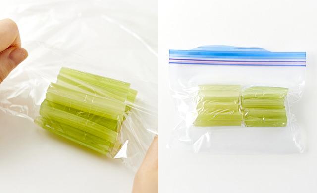 小分けにラップに包んでいる写真/冷凍用保存袋に入れた写真