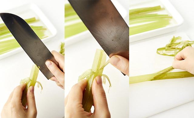 ふきの皮と身の間に包丁を入れる写真/ふきを回しながら1周分皮をむいている写真/ふきの皮をまとめてつまみ一気にむいている写真