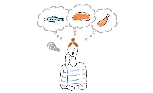 食材に迷っている人のイラスト