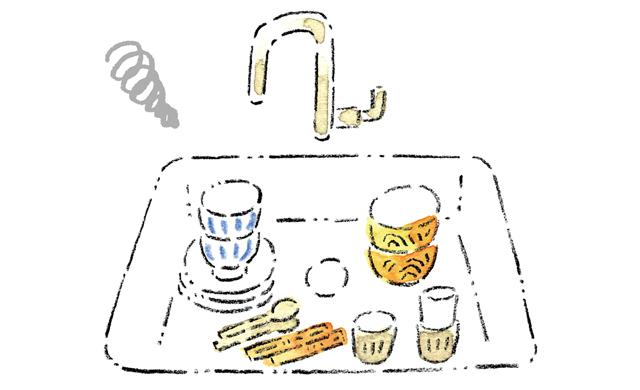 溜まった洗い物のイラスト