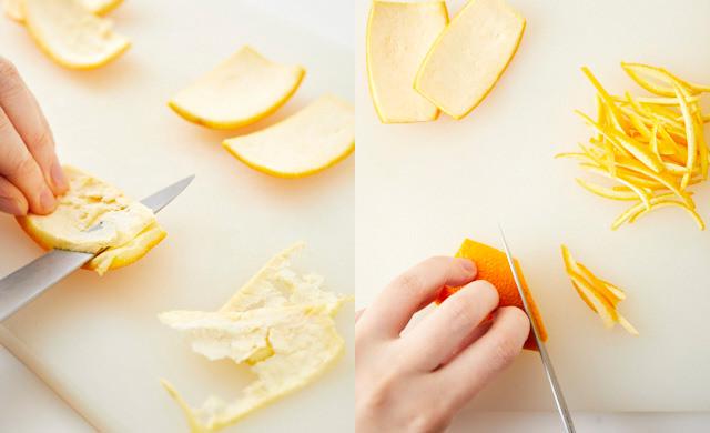 オレンジの皮を切っている写真