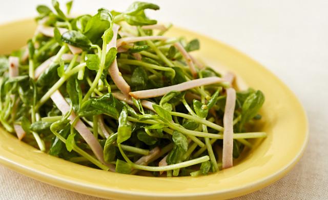 豆苗とハムのサラダの写真