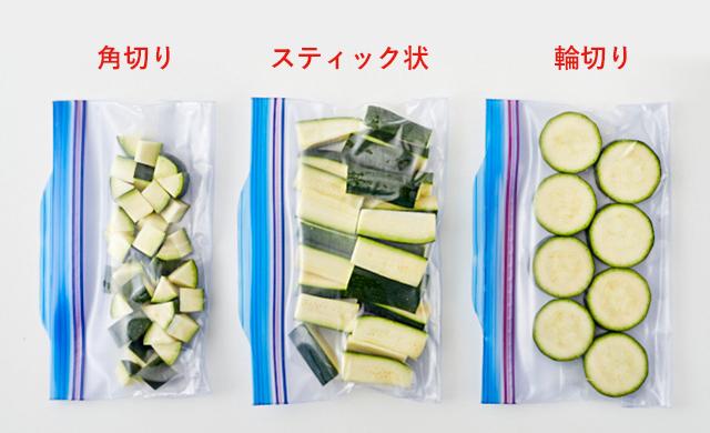 生のズッキーニを冷凍用保存袋に入れている写真