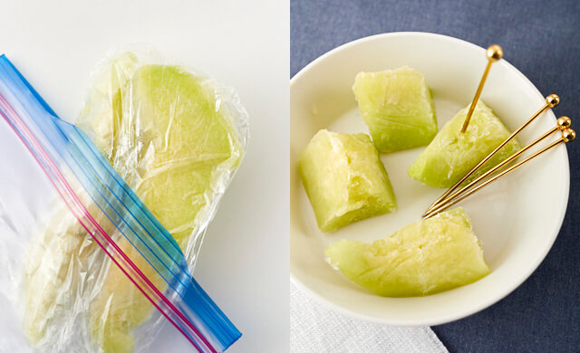 冷凍したメロンと食べ方の写真