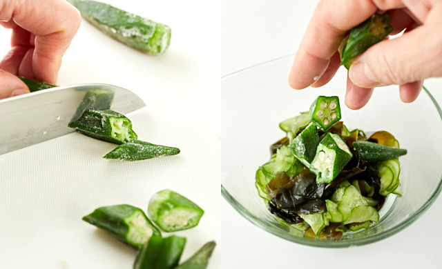 冷凍したオクラを切って酢の物に入れる写真