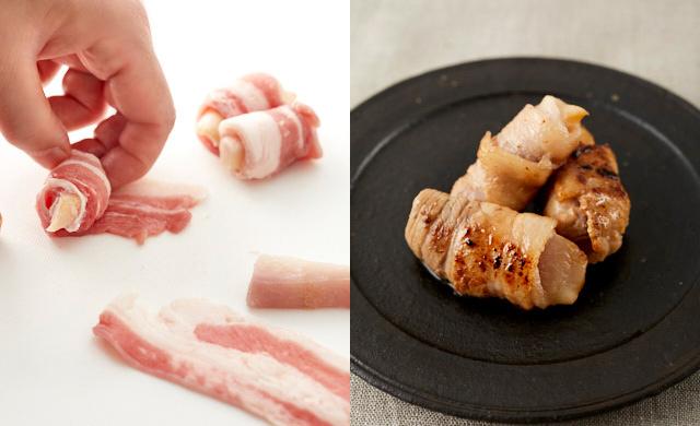 冷凍スティック状新生姜に豚肉を巻いているところと完成写真