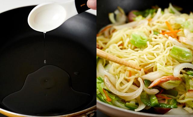 油をフライパンに入れる前の様子と、焼きそばを炒めている様子