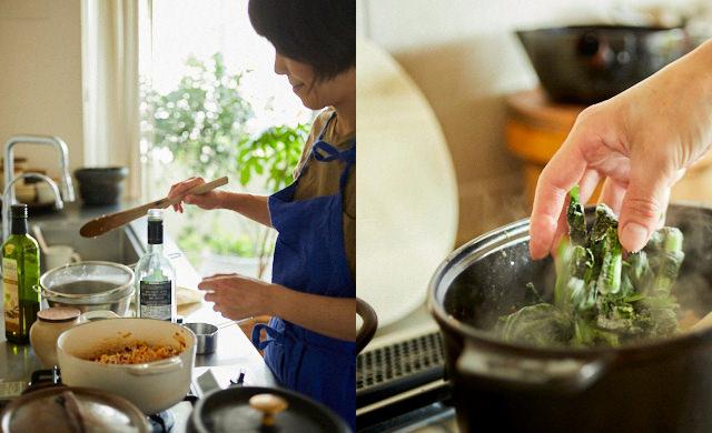 調理中のワタナベマキさん/冷凍野菜を使った調理シーン