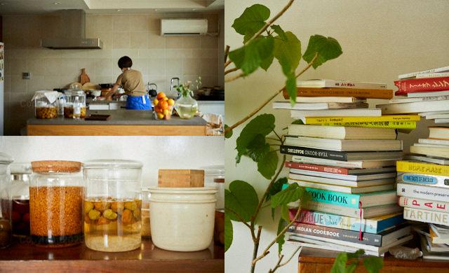 ワタナベマキさんのご自宅のキッチン/手作りの保存食などが並ぶ棚/ダイニングのインテリアたち