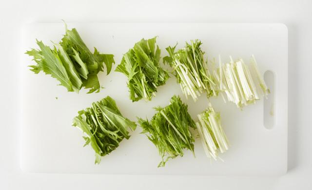 カットした水菜の写真