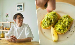 松山たけしさん、そら豆とチーズのタルティーヌの写真