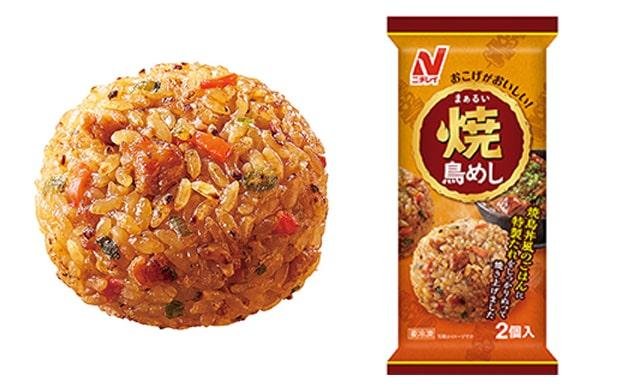 『まぁるい焼鳥めし』の盛り付け写真(左)パッケージ写真(右)