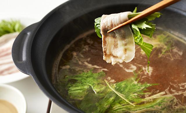 水菜と豚のしゃぶしゃぶの完成写真