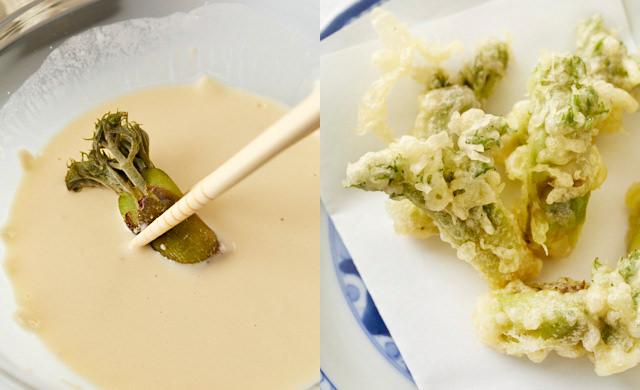 冷凍タラの芽に天ぷら粉をつけているところとタラの芽の写真