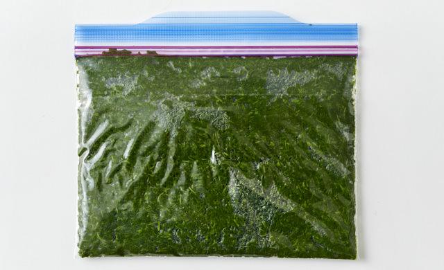 ペースト状になったよもぎを冷凍用保存袋に入れた写真