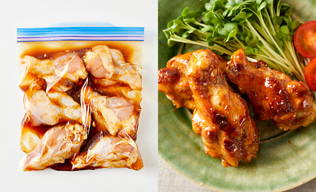 左に冷凍前のガーリック醤油味の鶏手羽元、右に鶏手羽元のソテーの写真