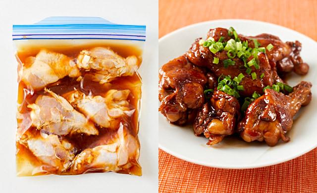 左に冷凍前のマイルド甘酢味の鶏手羽元、右に鶏手羽元の炒め煮の写真