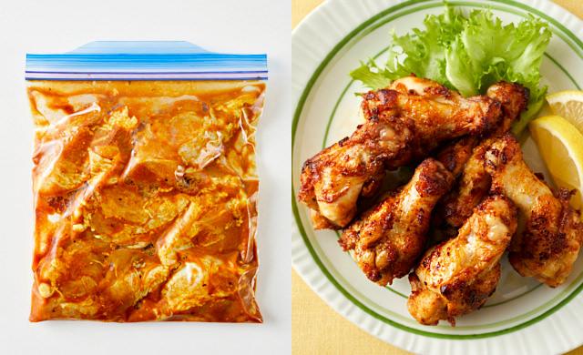 左に冷凍前のがっつりカレー味の鶏手羽元、右に鶏手羽元の揚げ焼きの写真