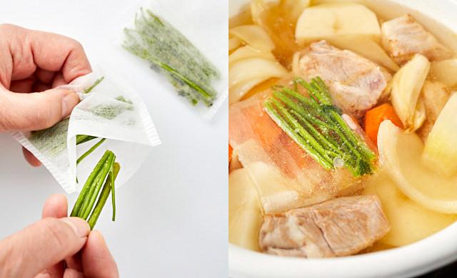 冷凍したパセリの茎をだしパックに入れる、カレーの具材にパセリの茎を加えて煮ている写真
