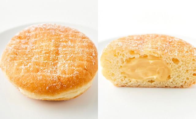 クリーム入りドーナツの全体写真と断面写真