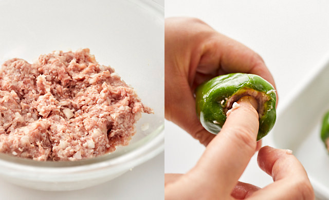 ボウルで混ぜ合わせた肉ダネ/ピーマンに肉ダネを詰めている様子