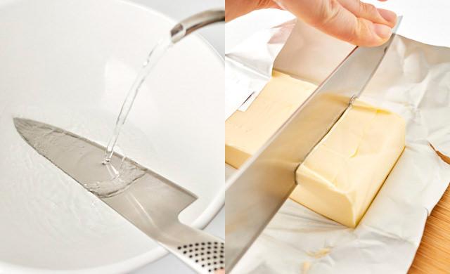 バターをカットしている写真