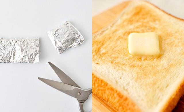 バターをトーストにのせている写真