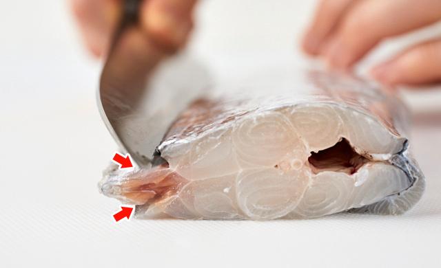 タチウオの背びれに切り込みを入れている写真