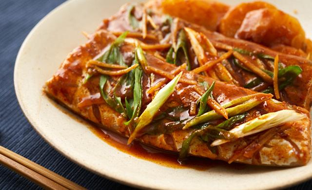 タチウオの韓国風煮付けの写真
