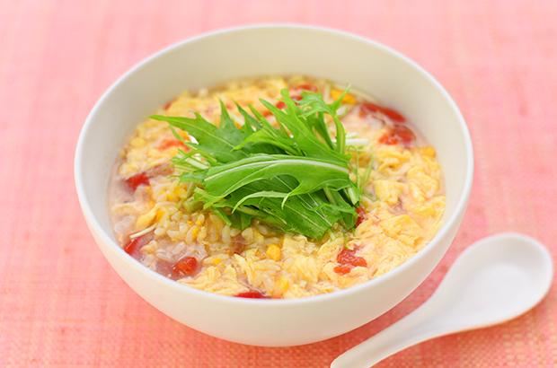 トマト1個と卵で作るサンラータン風スープごはん